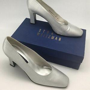 Stuart Weitzman 8.5 Cana Silver Matte Lame Pumps